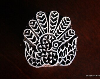 Hand Carved Indian Wood Textile Stamp Block- Fantail Pigeon