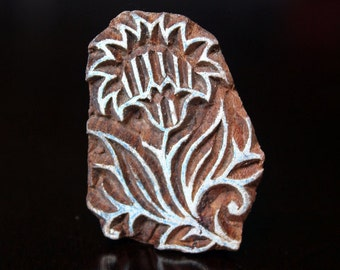 ON SALE Hand Carved Indian Wood Textile Stamp Block- Carnations Flowers