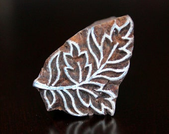 Hand Carved Indian Wood Stamp Block - Art Nouveau Style Leaves Branch Motif
