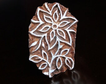 Hand Carved Indian Wood Textile Stamp Block- Clematis Flower
