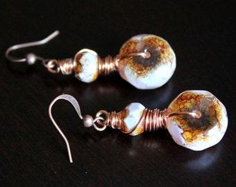 OOAK Rustic Opaque Czech Glass Wire Wrapped Earrings