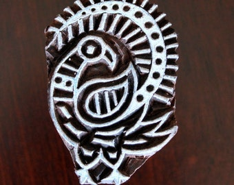 Hand Carved Indian Wood Textile Stamp Block- Stylized Bird Motif
