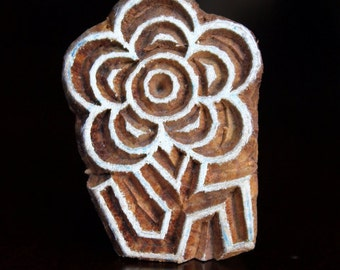 ON SALE Hand Carved Indian Wood Textile Stamp Block- Flower Motif