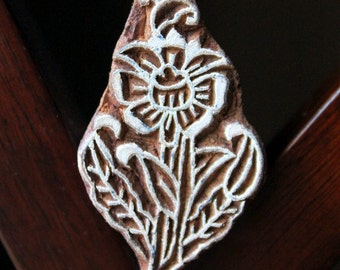 Hand Carved Indian Wood Textile Stamp Block- Flower (ON SALE)