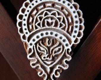 Hand Carved Indian Wood Textile Stamp Block-  Hindu Goddess Durga