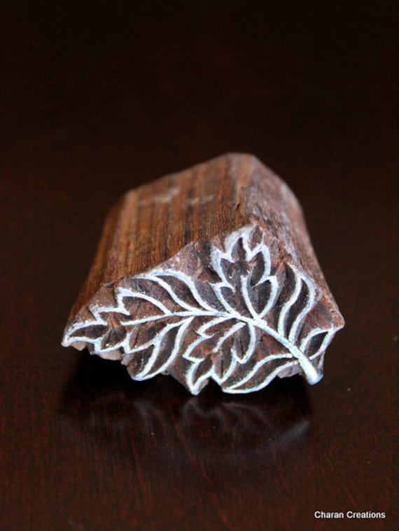 Hand carved indian wood stamp block art nouveau style