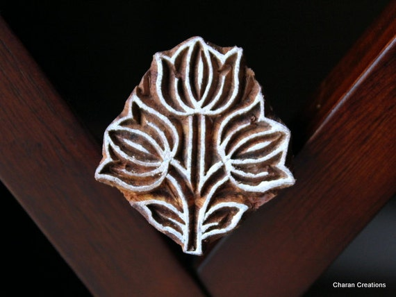 Hand Carved Indian Wood Textile Stamp Block- Tulip Flowers