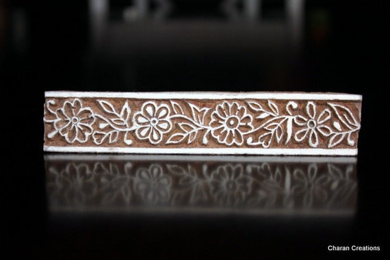Hand Carved Floral Border Indian Wood Stamp Block