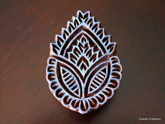 Hand Carved Indian Wood Textile Stamp Block- Leaf/Paisley Motif (REDUCED)