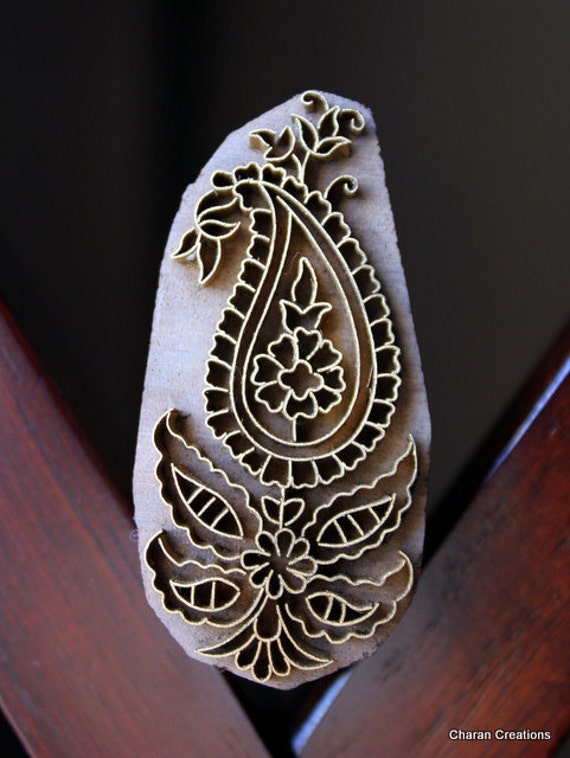 Handmade Indian Wood and Brass Textile Stamp- Paisley Motif
