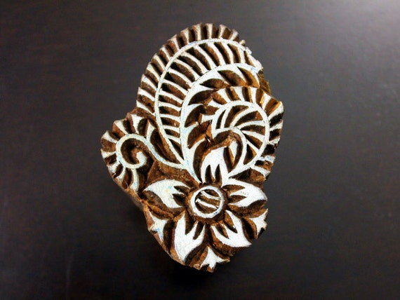Hand Carved Indian Wood Textile Stamp Block- Stylized Floral Motif (Reduced)