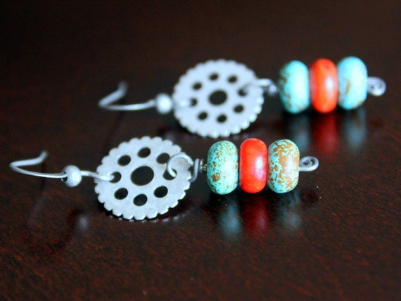 Turquoise and Coral Roundels Stack Vintage Earrings