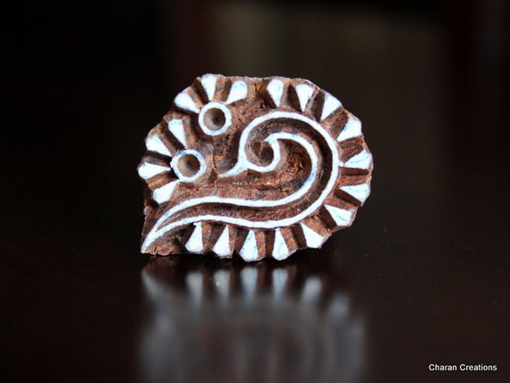 Hand Carved Indian Wood Textile Stamp Block- Abstract motif