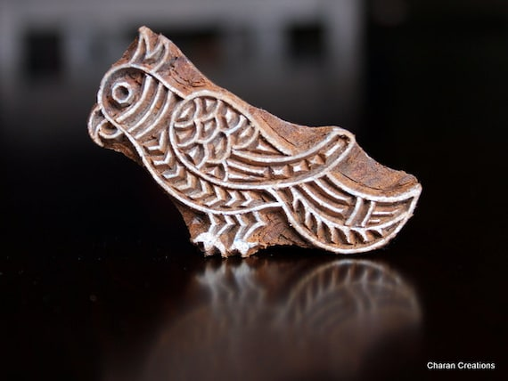 Hand Carved Indian Wood Textile Stamp Block- Parrot (REDUCED)