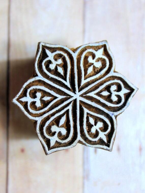 Indian Hand Carved Wood Block Stamp - Unique Flower Motif