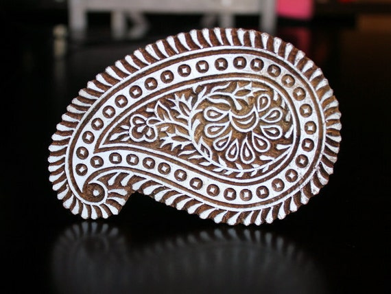 Hand Carved Indian Wood Stamp Block- Large Paisley