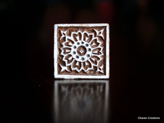 Hand Carved Indian Wood Textile Stamp Block- Geometric Square Motif