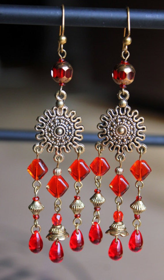 Red Antiqued gold Czech Glass Chandelier Earrings (ON SALE)