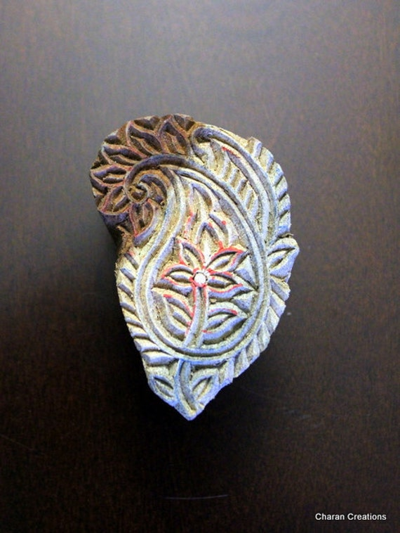 Hand Carved Indian Wood Textile Stamp Block- Paisley Motif (REDUCED)