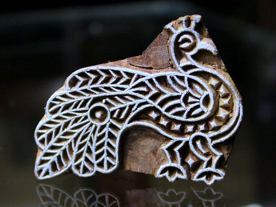 Hand Carved  Indian Wood Block Stamp- Peacock