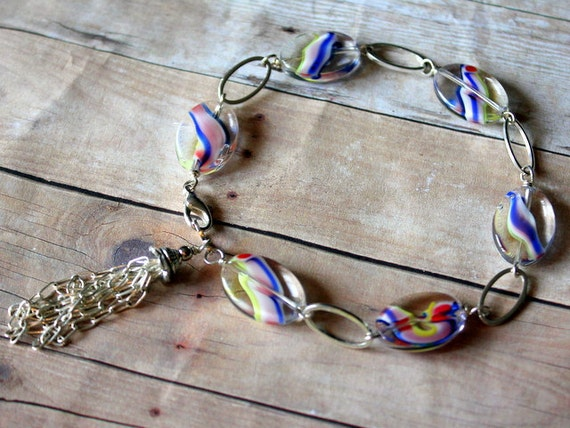 Vintage Inspired Multi-colored Streaks Glass Nuggets and Tassel Charm Bracelet-Country Candy