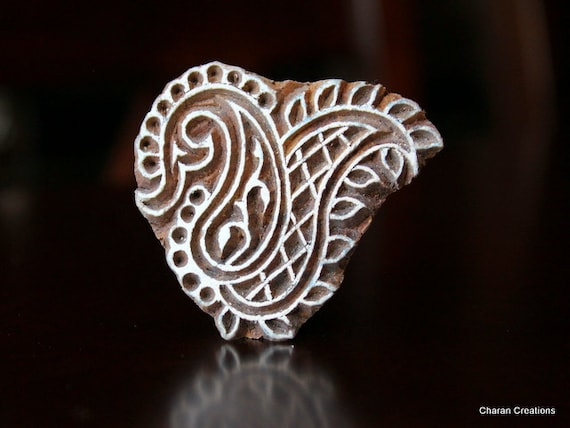 Hand Carved Indian Wood Textile Stamp Block- Paisleys