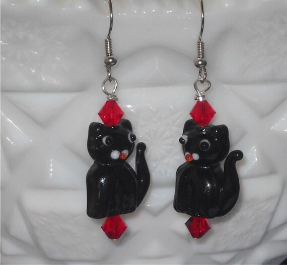 Black Cat Earrings with Red Swarovski Crystals Lampwork Bead Earrings