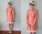 SALE / vintage 60's pink lace-trim party dress with collar