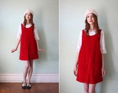 RESERVED vintage 1990's cherry red corduroy jumper dress with side buttons / size s - m