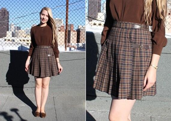 vintage 90's plaid pleated buckle mini skirt