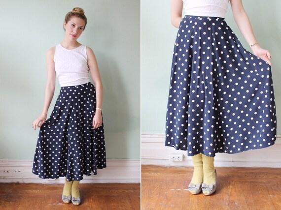 vintage navy blue polka dot midi length skirt