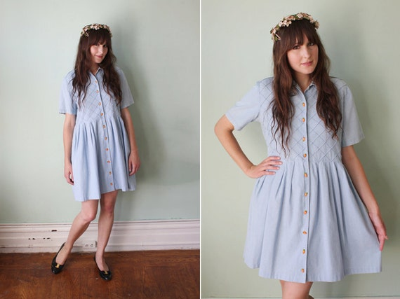 vintage 1990's pale blue chambray babydoll dress with