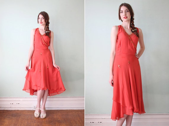 RESERVED vintage 1920's orange silk dream dress with gold metal trim / size x-small