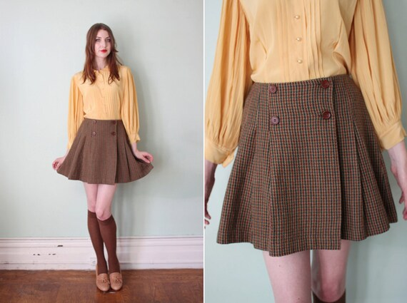 vintage 1990's brown & green wool tweed pleated mini skirt