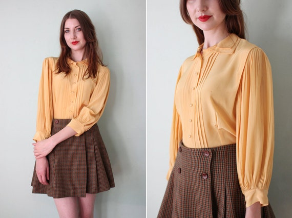 RESERVED vintage 1950's yellow silk blouse with pleated sleeves / size s - m