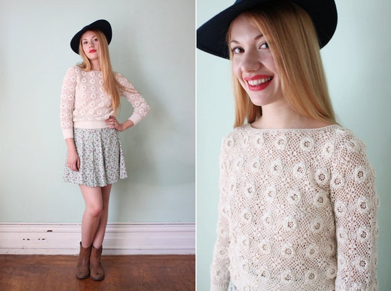 vintage 1980' white crochet sheer floral sweater / size xs - s