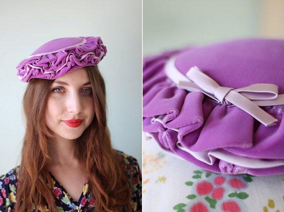vintage 1950's purple velvet & lavender satin ruffle tilt hat with bow