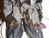 Antique Edwardian Leather Fur Trim Overboots