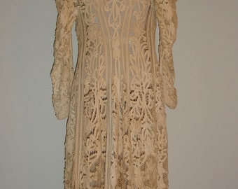 Antique Edwardian Battenburg Lace Jacket Dress