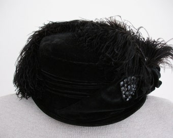 Vintage Edwardian Victorian Steampunk Black Velvet Hat with Ostrich Feathers, c. 1900s - 1910s