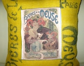 Free US shipping Unique Vintage Designer Yellow Burlap18x18 Pillow Cover Handprinted Art Reproduction Applique of Alphonse Maria Mucha  1898
