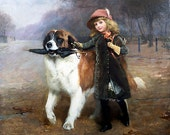 "Vintage Handprinted Cotton Art Reproduction Applique Vintage Charles Burton Barber ""Off to school"" 1883"