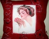 Free US shipping Unique Vintage Designer Red and Oystru Burlap18x18 Pillow Cover Handprinted Art Reproduction Applique  Lady With Rose