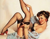 """PINUP prints- Cotton Sheet- Quilt Block-Applique Vintage-Perfect for sewing and framing- Sexy Pin-up Girl Gil Elvgren, """"Sheer comfort"""", 1959"""