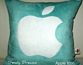 Free US shipping Unique Designer 16x16 Faux Suede Aqua Pillow Cover with  Apple  Icon  Applique