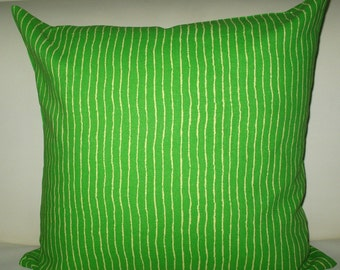 Home decor-Pillow covers-Cushions-Be green-100% Cotton-Elegant Designer 18x18 Pillow Cover zipper closure Green with Beige Stripes Print