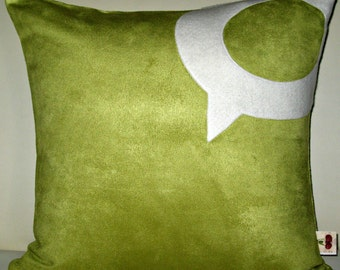 Geekery Pillows-Computer Pillows-Unique Designer 16x16 Celery Suede Pillow Cover with Technorati Icon Applique