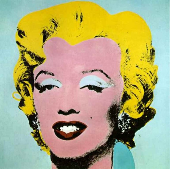 Handprinted Cotton Art Reproduction Applique Andy Warhol Marilyn in Blue 1967