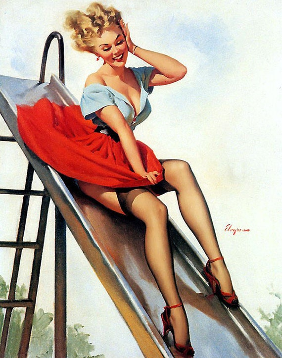 "Pinup prints- Cotton Sheets-Art Reprodn Applique Vintage-Perfect for framing and sewing- Sexy Pin-up Girl Gil Elvgren ""Up and Cunning"", 1955"