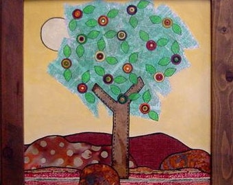 Mixed Media  Collage Painting Flowering Tree